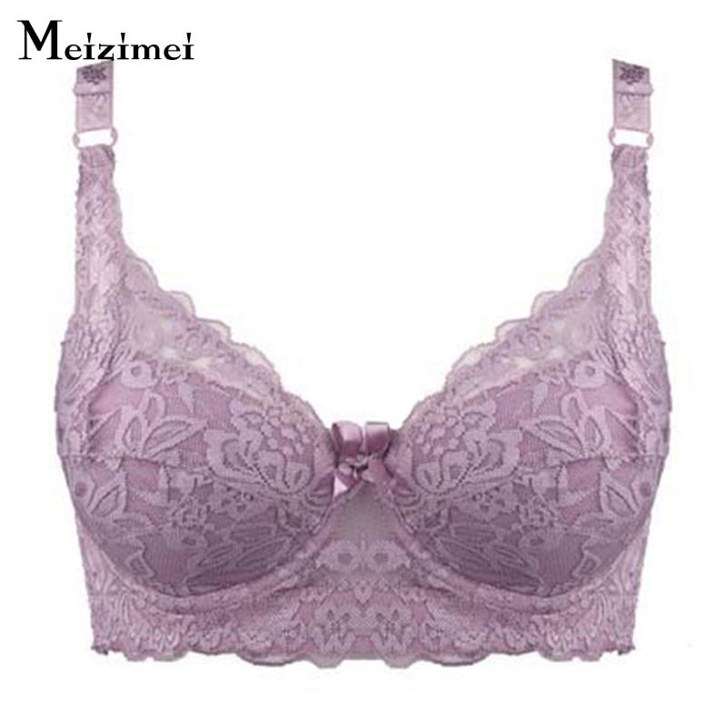 0134576eb Mizimei Plus size bra underwear ultra thin full cup women sexy lace cotton  push up bras ...