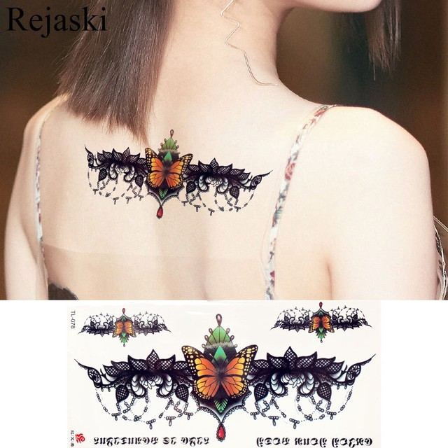 505c47bcf Black Bat Lace Bracelet Butterfly Tattoo Stickers Pendant Girl Waist  Temporary Tattoo Women Body Chest Art