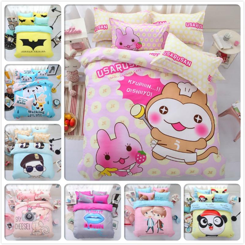 Pink Sweet Girl Animal Cartoon Print Kids Bedding Set 4pcs Bedlinens Queen Double Single Size Duvet Cover 1.5m 1.8m 2m Bed Sheet