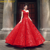 Luxury Royal Red One shoulder Ball Gown Women Party Evening Occasion Gown Zuhair Murad Evening Dresses 2019 Dubai Abaya Galajurk