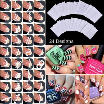 цена на 24pcs/set Nail Art Guide Tips Hollow Stencils Sticker French Manicure Template 3D Vinyls Decals Form Styling Tool