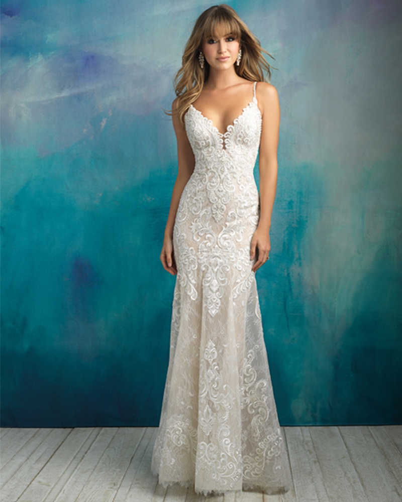 2019 New Arrive Gelinlik Spaghetti Straps V-neck Backless Beading Appliques Lace Sexy Mermaid Wedding Dress Vestido Noiva Sereia