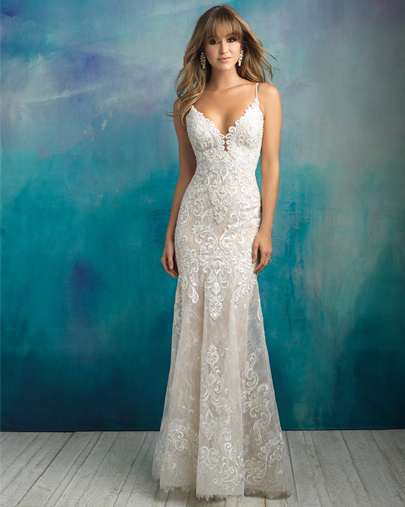2019 New Arrive Gelinlik Spaghetti Straps V neck Backless Beading Appliques Lace Sexy Mermaid Wedding Dress Vestido Noiva Sereia