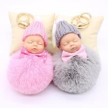 Sleeping Baby Doll Keychain Pompom Rabbit Fur Ball Key Chain Car Keyring porte clef pompon Bag Key ring llaveros chaveiro