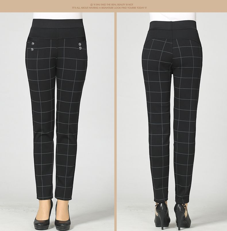 Woman Casual Pant Navy Blue Green Black Plaid Trousers Women Spring Autumn Winter Trouser High Waist Elastic Band Pantalonese Mujer  (18)