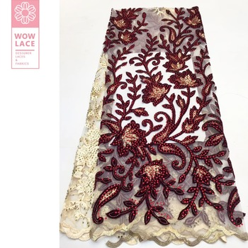 Indian Red Flower Embroidery Net Lace Fabric Stones Special Embroidered Lace Material For Wedding Dress Voile Tulle Mesh Fabrics