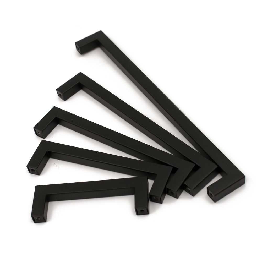 5 10 25 Cabinet Pull Square Drawer Handles Kitchen: Black Kitchen Cabinet Handles Knobs Stainless Steel J12BK