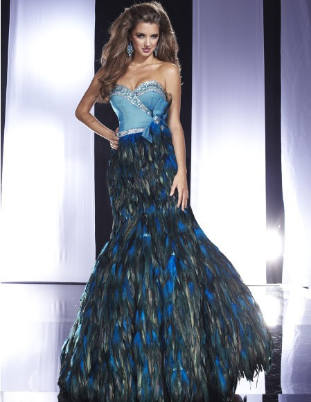 Online Buy Wholesale blue feather prom dress from China blue ...