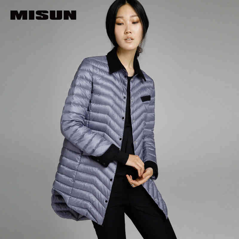 High quality misun 2017 spring thin   coat   medium-long   down     coat   female brief jackets new hot sell