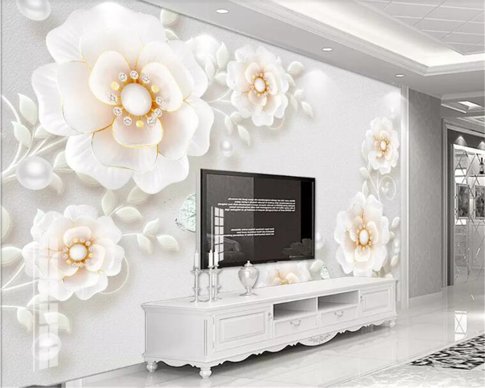beibehang Custom size 3D three-dimensional embossed jewel flower modern minimalist background wall home decoration mural
