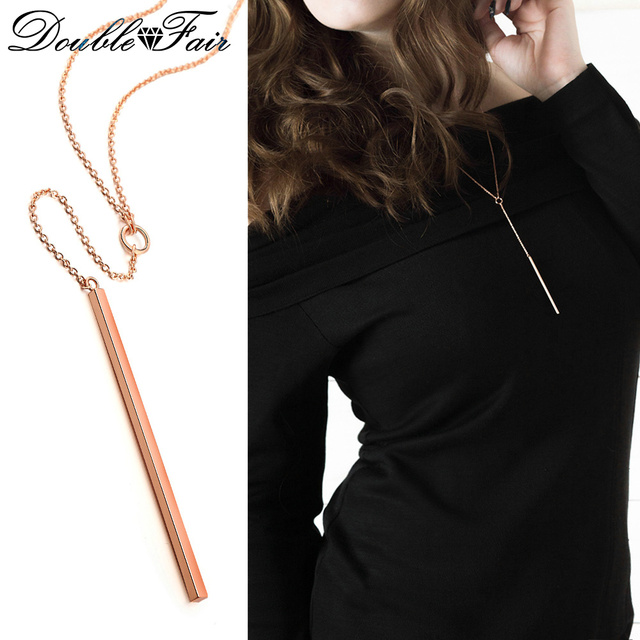 Double Fair Anti Allergy Simple Y Style Chain Long Necklaces & Pendants Rose Gol