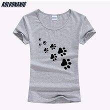 KOLVONANIG 2019 Summer Funny Cat Paws Animal Printed T shirt Women Cotton O-neck Slim TShirts For Lady Kawaii Girls T-Shirt Tops