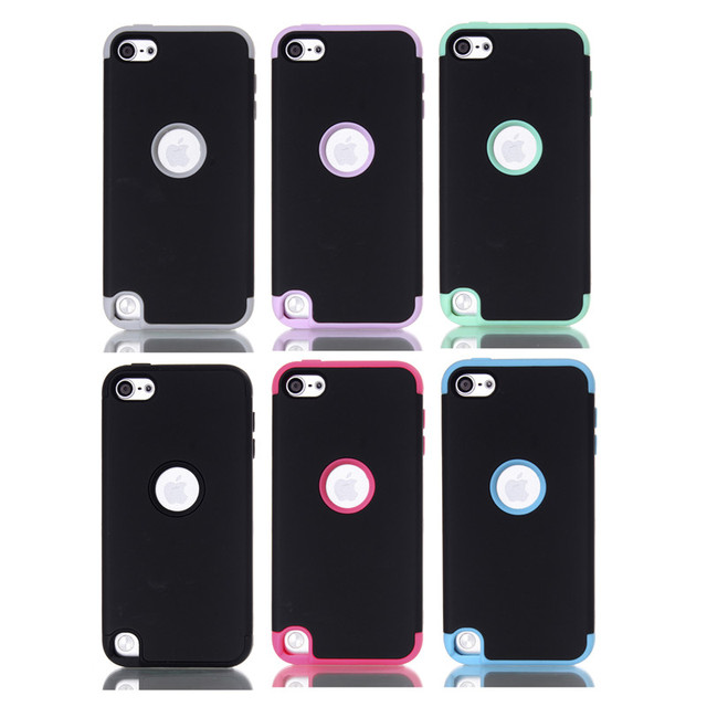 Multi Colors Impact Hard & Soft Silicone Hybrid Shockproof Case Cover For iPod Touch 5  phone Cover Case Protector +stylus  Pen