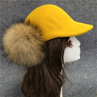 Baseball Caps For Women Raccoon Fur Ball Pompom Trucker Hat Summer Suede Leather Female Cap Hip Hop Dad Hat Double pompon