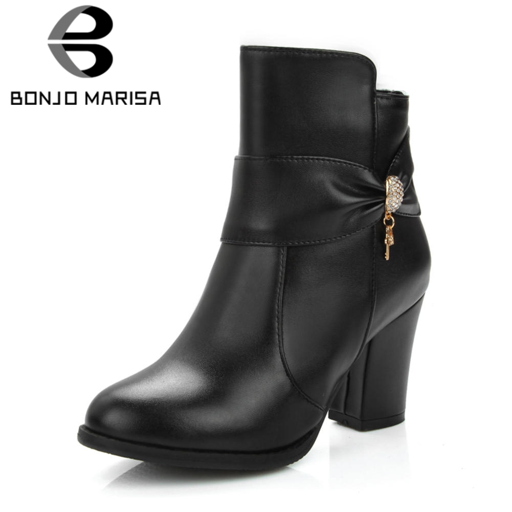 BONJOMARISA 2019 Winter Plus Size 32-48 Elegant Black Ankle Boots Women butterfly-knot Warm Fur Boots High Heels Shoes WomanBONJOMARISA 2019 Winter Plus Size 32-48 Elegant Black Ankle Boots Women butterfly-knot Warm Fur Boots High Heels Shoes Woman