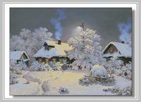 oneroom Winter village Embroidery Snowy day Scenery Needlework Crafts 14CT Unprinted Cross Stitch Kit Art DMC DIY Quality