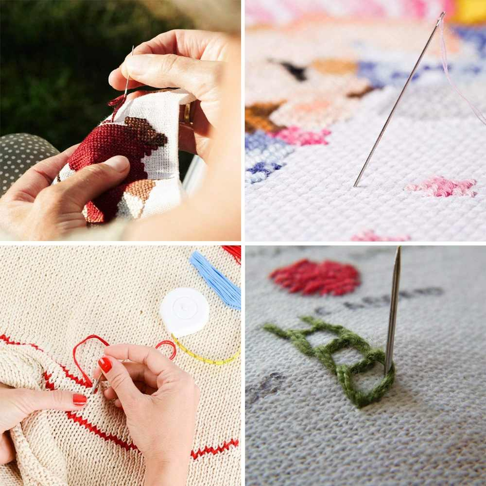 136 Pcs/set Magic Patterns Punch Needle Kit Craft Tool Embroidery Pen Set, Threads for Sewing Knitting DIY Threaders