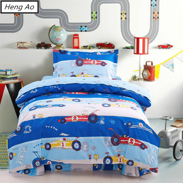 100 cotton cotton bed sheets oil painting kids boys blue cars bedding set single twin 3d