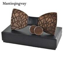 Mantieqingway Mens Wood Bowtie Cufflinks Set Brand Business Wooden Bow Tie Neckties Cuff Links for Wedding Groom
