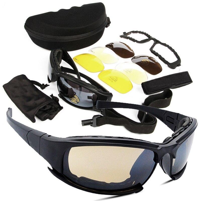 Tactical Daiisy X7 Militar Gafas Gafas gafas de Sol Del Ejército Con 4 Lentes Ca
