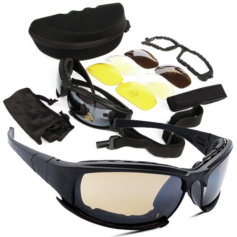 Caixa de Sol com 4 Homens do Exército d a i Tático s y. x7 Militar Óculos  Lens Original Tiro Eyewear Gafas 49b15bd263