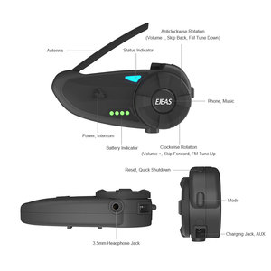 Image 5 - EJEAS Quick20 Bluetooth 4.2 Motorcycle Intercom Headset Raid Pair 1.2km with FM Radio Turntable Battery Indicator for 2 Riders