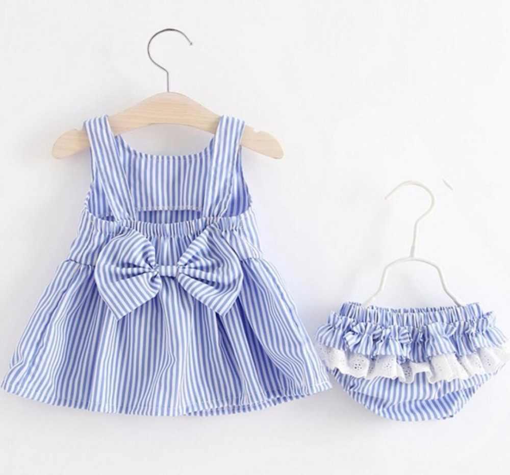 16dc197f03408 Baby Girls Newborn Dress Clothes New Cute Bowknot Striated Sleeveless Girl  Dress + PP Pants infant