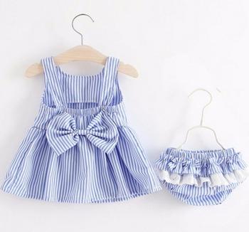 Baby Girls Newborn sukienka ubrania nowe Śliczne bowwęzłem prążkowane sukienka bez rękawów dziewczyna + PP spodnie niemowlę 2szt Odzież zestawy Kids tanie i dobre opinie Dziecko Sets Regularne Paski Bawełna SHENGMEIHAO O-Neck Sweter Sukno Płaszcz Pasuje do rozmiaru Weź swój normalny rozmiar
