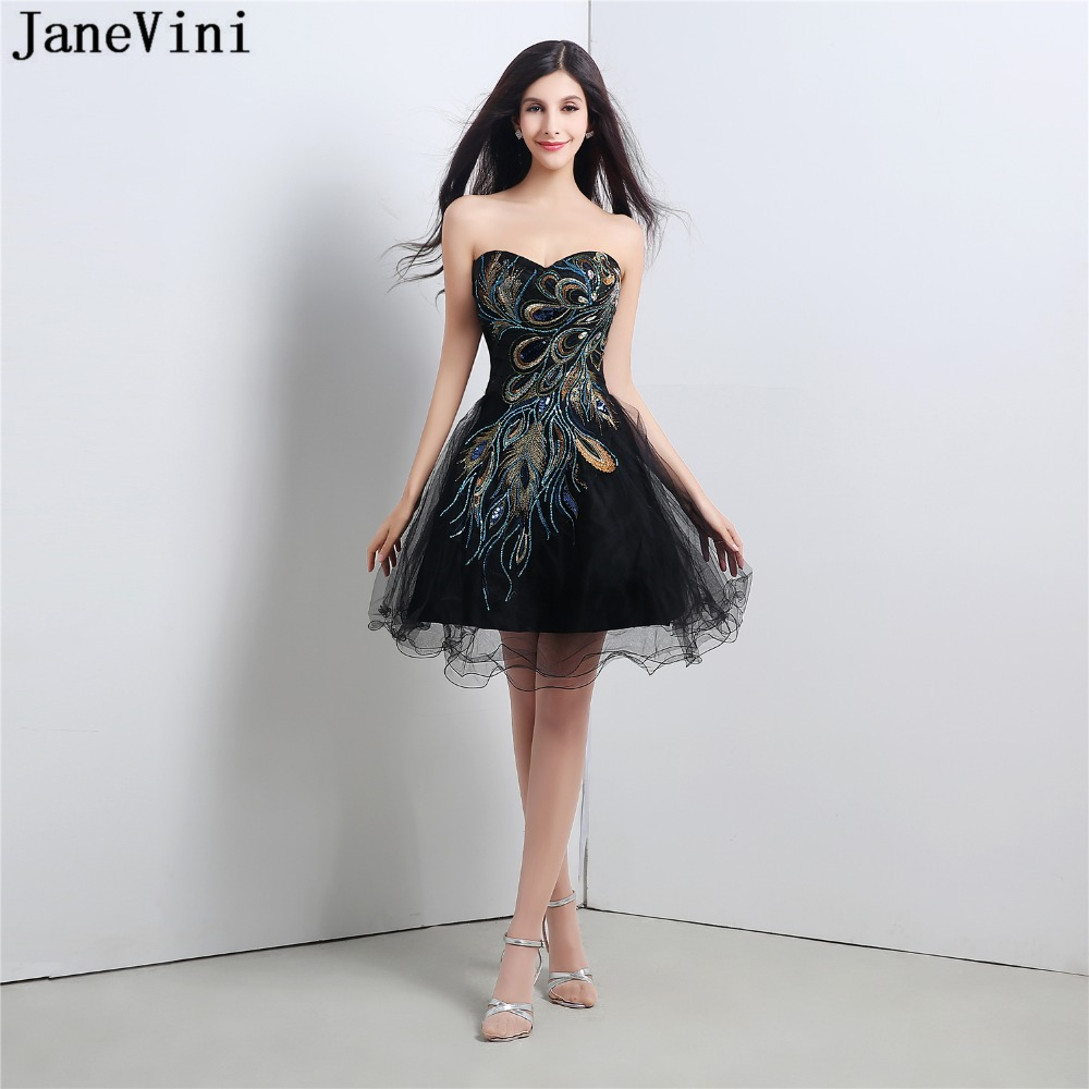 JaneVini Charming Black Tulle Short   Bridesmaid     Dresses   A Line 2018 Sweetheart Backless Sequined Embroidery Mini Prom Party Gowns