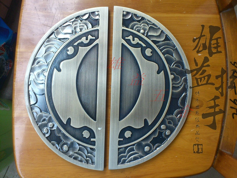 Bronze sculpture modern European glass door pull handle handicraft large semicircle Chinese antique wooden door handle european modern bronze handle chinese antique doors handle circular glass door handle