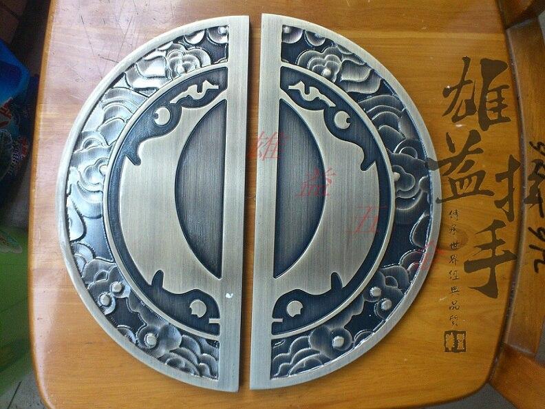 Sculpture en Bronze moderne européenne porte en verre tirer poignée artisanat grand demi-cercle chinois antique porte en bois poignée