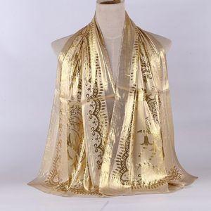 Image 4 - 1pc Women Retro Hijab 100% Silk Jacquard Scarf Ladies Long Shawls Wraps Pashmina Islam Headband Bufandas Muslim Sjaal 55*165CM