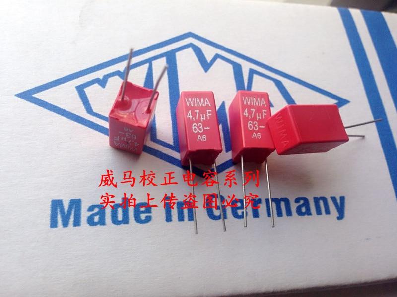 2019 Hot Sale 10pcs/20pcs Germany WIMA MKS2 63V 4.7uF 475 63V 4u7 P: 5mm Full 50 Audio Capacitor Free Shipping