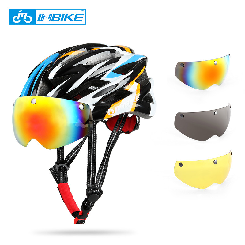 Cycling Helmet with Glasses 3 Pair Lens Bike Ultralight Helmet With Light Intergrally-molded Mountain Road Bicycle Helmet topeak outdoor sports cycling photochromic sun glasses bicycle sunglasses mtb nxt lenses glasses eyewear goggles 3 colors