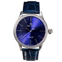 Royal Crown Men Wrist Watch Quartz Hours Best Fashion Dress Bracelet Stainless Steel Luxury Rhinestones Bling