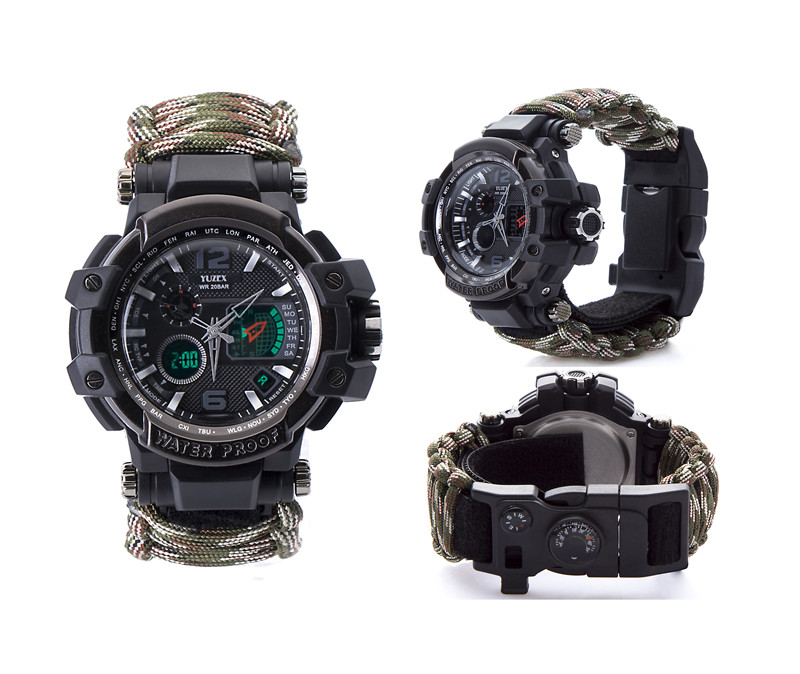 Waterproof paracord watch survival outdoor camp (6)