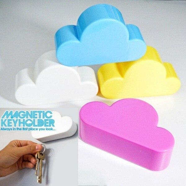 50pcs/lot Lovely White Creative Novelty Cloud Shape Magnetic Magnets Key Holder Home Keychains Hanger Good Gifts