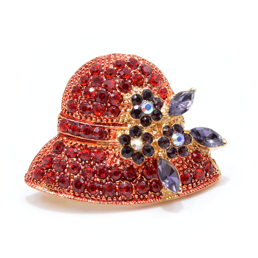 Ustar Fashion Hat Brooches For Women Pins Gold Color Blue