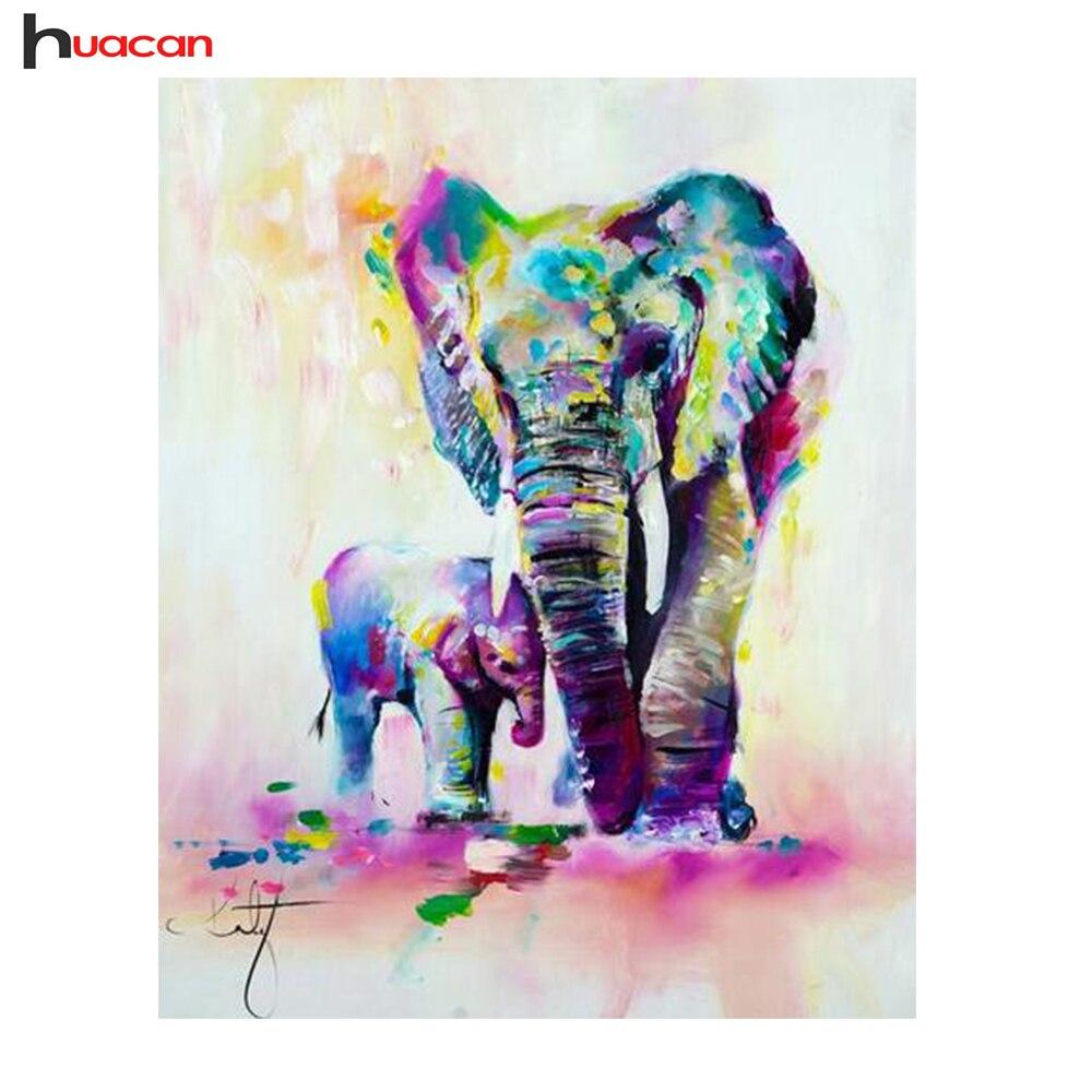 HUACAN DIY 5D Diamond Mosaic Painting Elephant Crystal Drawing Diamond Embroidery Cross Stitch Animals Series Home Decor F1564