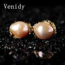 Venidy 2017 New Natural Baroque Pearl Inlay Tourmaline Stud Earrings Fine Jewelry 925 Sterling Silver Earrings Stud Women Party
