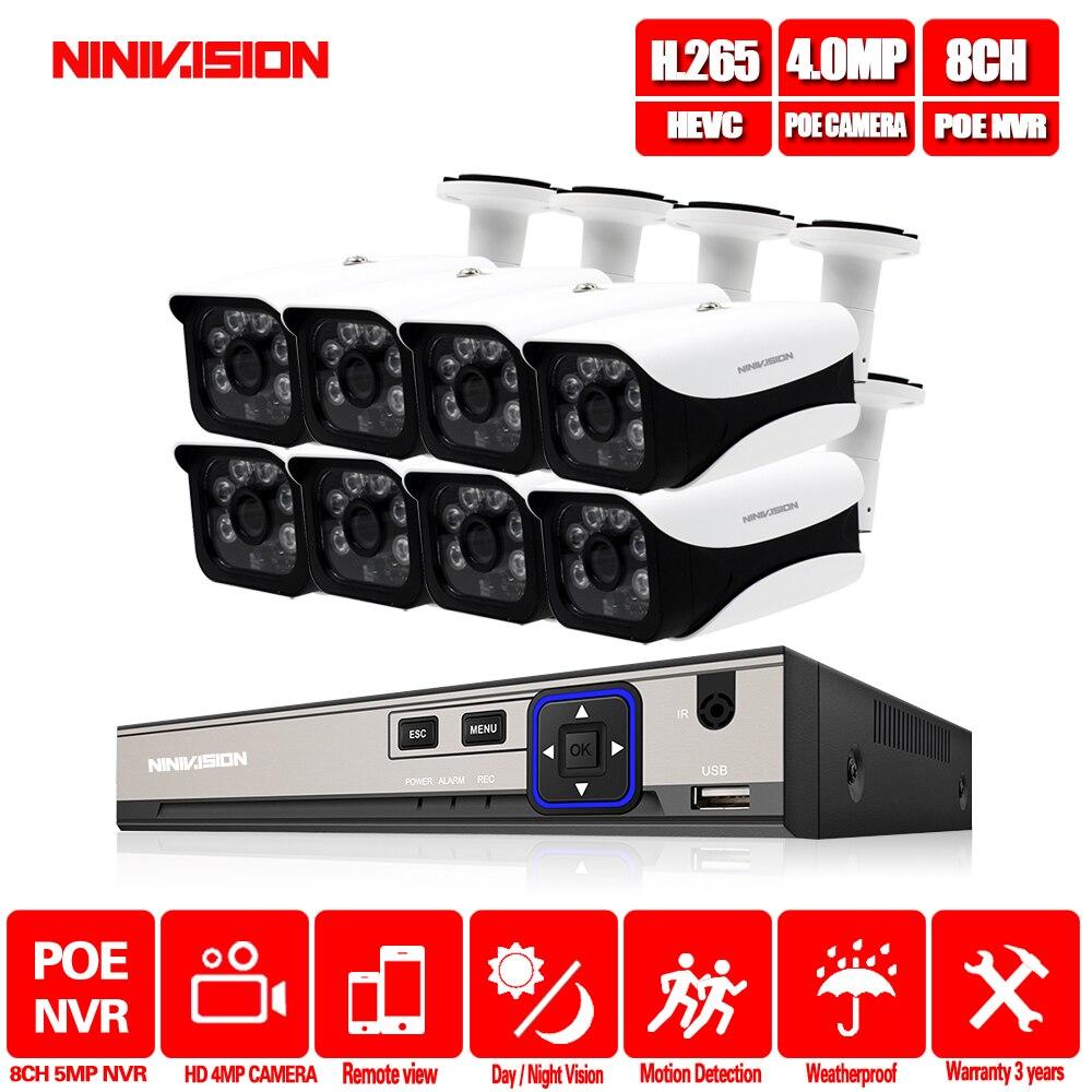 Système de caméra de télévision en circuit fermé 8CH 48 V POE NVR Kit Onvif 5MP 4.0MP HD POE IP caméra étanche Vision nocturne système de caméra de sécurité