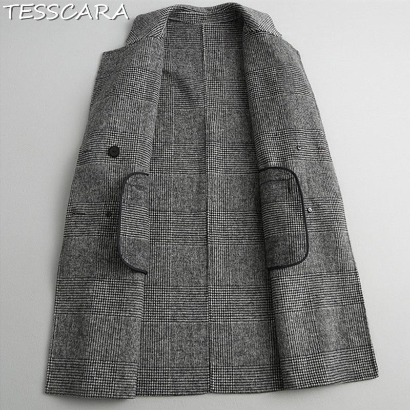 Automne En Laine Cachemire Femme Bureau D'hiver Grey Trench Veste Tesscara Manteau Et Dark Manteaux Vestes Mélangée Femmes w5zITqp