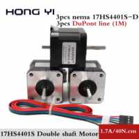 3 шт. Nema17 шаговый двигатель 42 двигатель 17HS4401S двойной вал с 1 м DuPont линия 1.7A 40N. См для ЧПУ и 3D принтера
