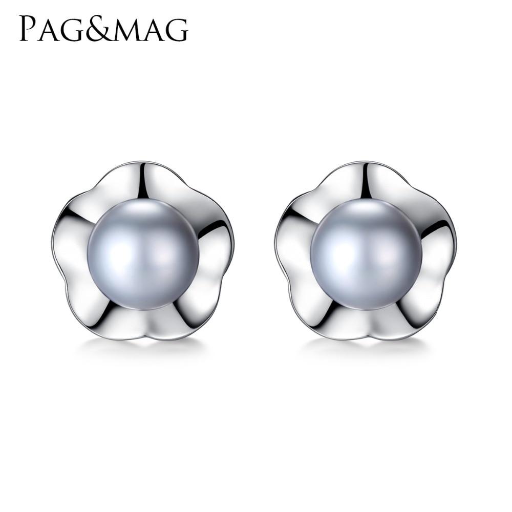 PAG & MAG Merek Plum Bentuk Anting Perak Terang AAAAA Mutiara Wanita - Perhiasan bagus