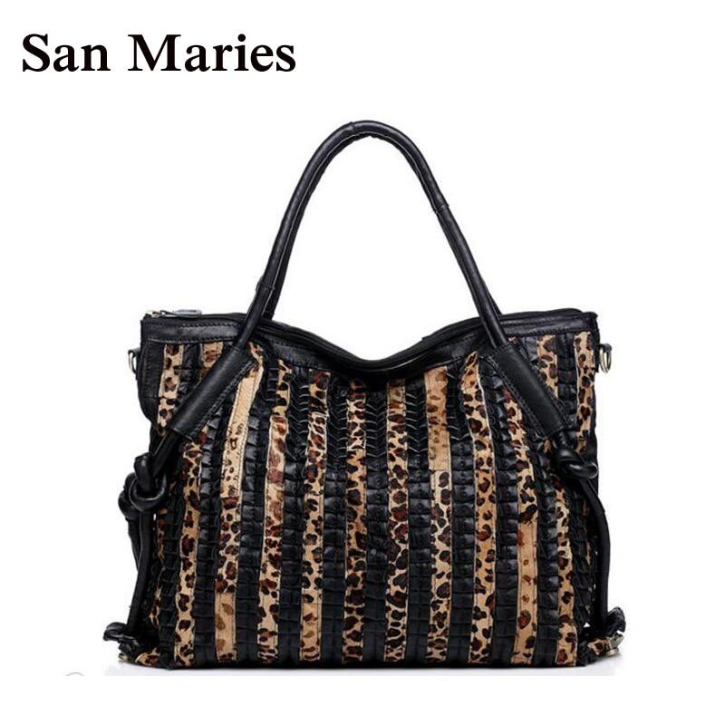 San Maries Women Leather Handbag Big Bag Sexy Leopard Female Large Tote Shoulder Bag Ladies Purses