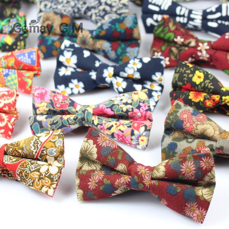 Ρυθμιζόμενο τυπικό βαμβάκι τόξο γραβάτα Vintage Floral εκτύπωσης Mens Bowties πεταλούδα Bowtie Tuxedo τόξα για γαμπρό Prom δώρο συμβαλλόμενων μερών