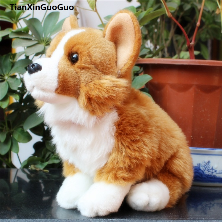 high quality about 28x20cm squatting welsh corgi brown dog plush toy soft doll birthday gift w2227