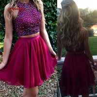 Sexy Burgundy Short Homecoming Dresses Plus Size Chiffon Luxury Semi Formal Graduation Cocktail Prom Party Dresses
