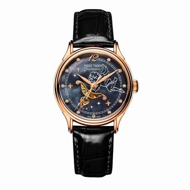 サンゴ礁虎愛serier RGA1550高級腕時計女性レディ手首腕時計ローズゴールドトーン母のパールダイヤル腕時計レザーストラップ  グループ上の 腕時計 からの レディース腕時計 の中 1