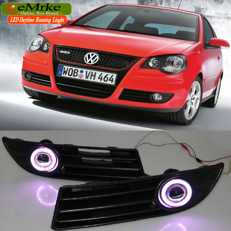 eeMrke LED Angel Eyes DRL For Volkswagen VW Polo Daytime Running Lights Halogen Bulbs H11 55W Fog Lights 2 x 1156 for cree chips no error car led bulbs daytime running lights bulb for vw volkswagen jetta mk6 scirocco sharan seat